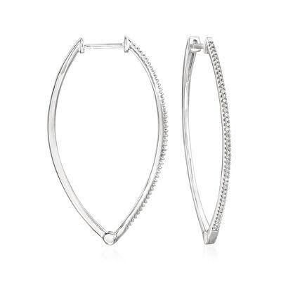 .25 ct. t.w. Diamond Marquise-Shaped Hoop Earrings in Sterling Silver, , default