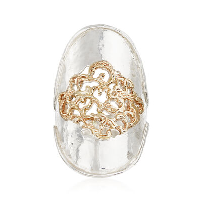 Sterling Silver and 14kt Yellow Gold Filigree Center Ring, , default
