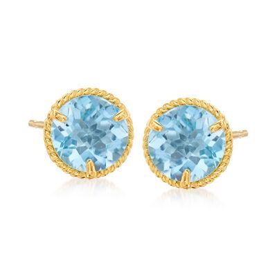 1.80 ct. t.w. Swiss Blue Topaz Roped Halo Stud Earrings in 14kt Yellow Gold