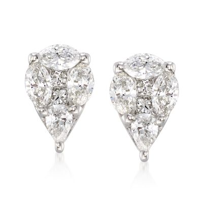.75 ct. t.w. Pear-Shaped Diamond Earrings in 14kt White Gold, , default