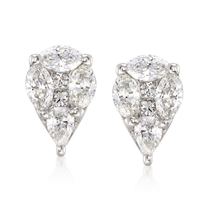 .75 ct. t.w. Pear-Shaped Diamond Earrings in 14kt White Gold