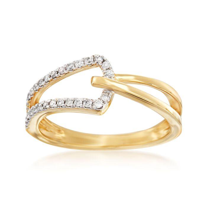 .15 ct. t.w. Diamond Open-Space Interlocking Ring in 14kt Yellow Gold, , default