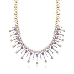 C. 1980 Vintage 18.00 ct. t.w. Amethyst and 10.60 ct. t.w. Diamond Collar Necklace in 14kt Yellow Gold, , default