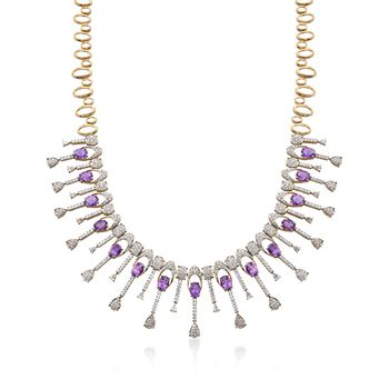 """C. 1980 Vintage 18.00 ct. t.w. Amethyst and 10.60 ct. t.w. Diamond Collar Necklace in 14kt Yellow Gold. 16"""", , default"""