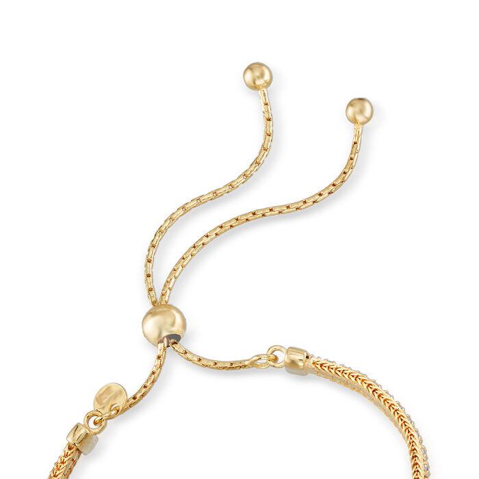 Italian 2.00 ct. t.w. CZ Bolo Bracelet in 18kt Gold Over Sterling