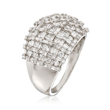 2.00 ct. t.w. Baguette and Round Diamond Basketweave Ring in 14kt White Gold