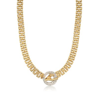 C. 1980 Vintage 1.50 ct. t.w. Diamond Panther Necklace in 18kt Yellow Gold, , default