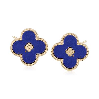 Italian Blue Enamel Beaded Floral Earrings in 14kt Yellow Gold, , default