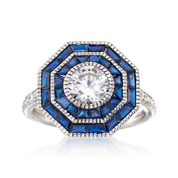Synthetic Blue Spinel and 1.05 ct. t.w. CZ Ring in Sterling Silver, , default
