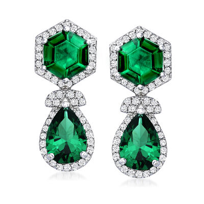 6.60 ct. t.w. Simulated Emerald and .80 ct. t.w. CZ Drop Earrings in Sterling Silver