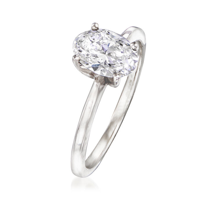 1.20 Carat Certified Oval Diamond Ring in 14kt White Gold