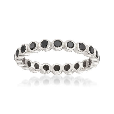 1.00 ct. t.w. Bezel-Set Black Diamond Eternity Band in 14kt White Gold