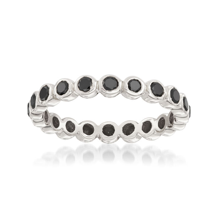 1.00 ct. t.w. Bezel-Set Black Diamond Eternity Band in 14kt White Gold, , default