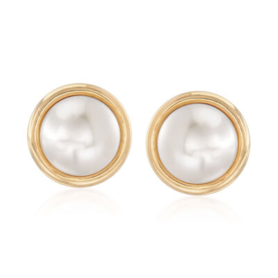 10mm Cultured Pearl Earrings in 14kt Yellow Gold, , default