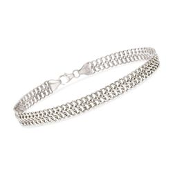 "Italian 14kt White Gold Double Row Cable Bracelet. 7.5"", , default"