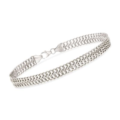 Italian 14kt White Gold Double Row Cable Bracelet, , default