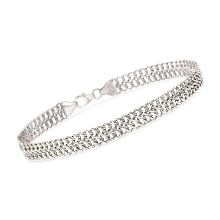 Italian 14kt White Gold Double Row Cable Bracelet, , default