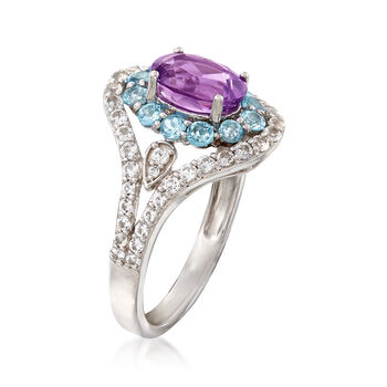 1.00 Carat Oval Amethyst and Blue and White Topaz Ring in 14kt White Gold, , default
