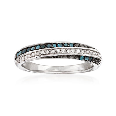 .18 ct. t.w. Blue and White Diamond Ring in Sterling Silver, , default