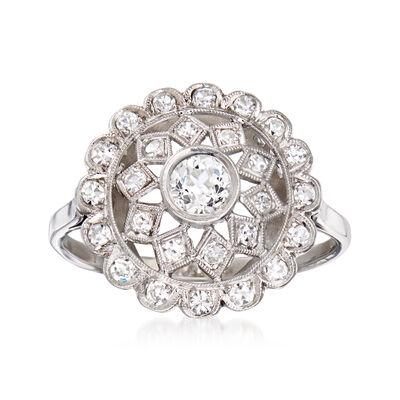 C. 1950 Vintage .65 ct. t.w. Diamond Openwork Dome Ring in Platinum