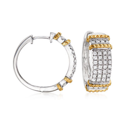 1.00 ct. t.w. Diamond Hoop Earrings in Sterling Silver with 14kt Yellow Gold