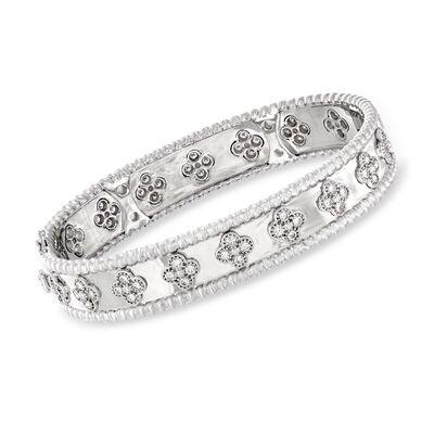 C. 1990 Vintage 2.00 ct. t.w. Diamond Flower Bangle Bracelet in 18kt White Gold, , default