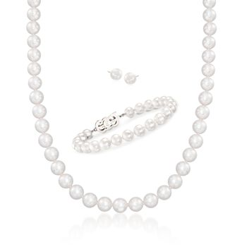 """Mikimoto 7-8mm A1 Akoya Pearl Jewelry Set: Earrings, Necklace and Bracelet With 18kt White Gold. 18"""", , default"""