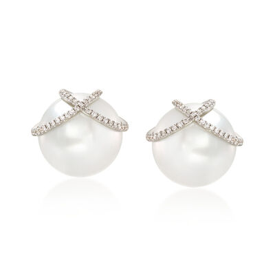 15mm Cultured South Sea Button Pearl and .30 ct. t.w. Diamond Crisscross Stud Earrings in 18kt White Gold, , default