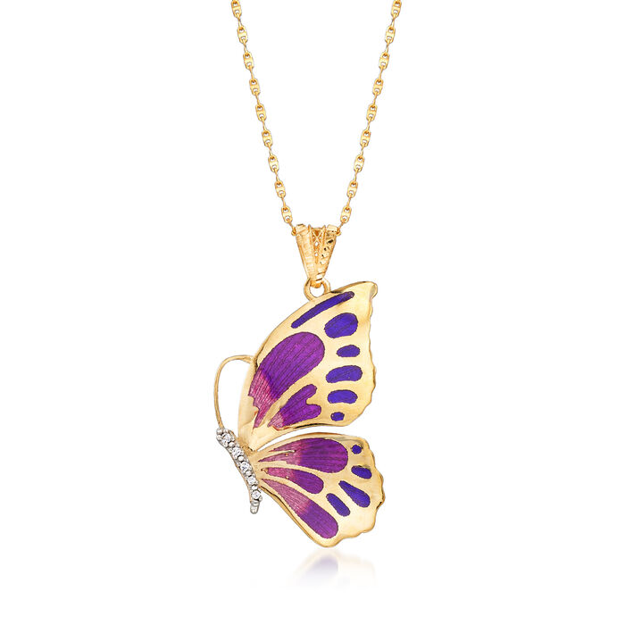 """Italian 18kt Yellow Gold Butterfly Pendant Necklace with Enamel and CZ Accents. 18"""""""