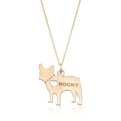 18kt Yellow Gold Over Sterling Silver French Bulldog Name Pendant Necklace, , default