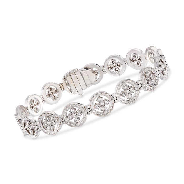 "C. 1980 Vintage .85 ct. t.w. Diamond Multi-Circle Bracelet in 18kt White Gold. 7"""