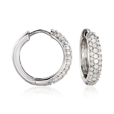 .34 ct. t.w. Diamond Huggie Hoop Earrings in Sterling Silver