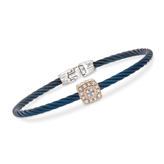 "ALOR ""Shades of Alor"" Blue Carnation Cable Station Bracelet with Diamond Accents in Stainless Steel and 18kt White and Rose Gold . 7"", , default"