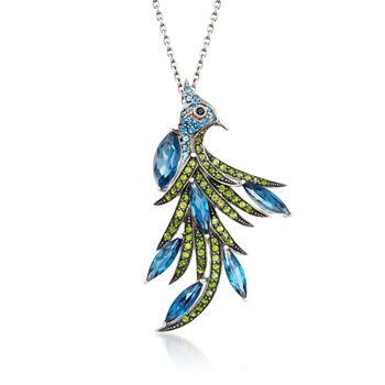 """6.40 ct. t.w. Blue Topaz and 1.00 ct. t.w. Green Chrome Diopside Peacock Pin Pendant Necklace in Sterling Silver. 18"""", , default"""