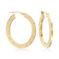 Italian 14kt Yellow Gold Greek Key Oval Hoop Earrings, , default