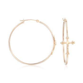 "14kt Yellow Gold Cross Hoop Earrings. 1 1/4"", , default"