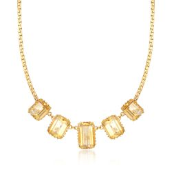 "C. 1970 Vintage 73.00 ct. t.w. Citrine Necklace in 14kt Yellow Gold. 21.5"", , default"