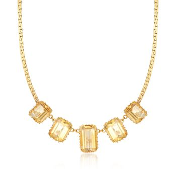 """C. 1970 Vintage 73.00 ct. t.w. Citrine Necklace in 14kt Yellow Gold. 21.5"""", , default"""