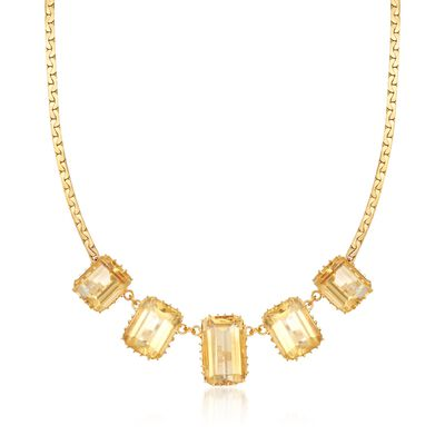 C. 1970 Vintage 73.00 ct. t.w. Citrine Necklace in 14kt Yellow Gold, , default