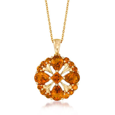 3.70 ct. t.w. Citrine Pendant Necklace in 14kt Yellow Gold, , default