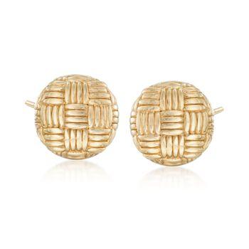 Italian 18kt Yellow Gold Woven Pattern Dome Earrings, , default