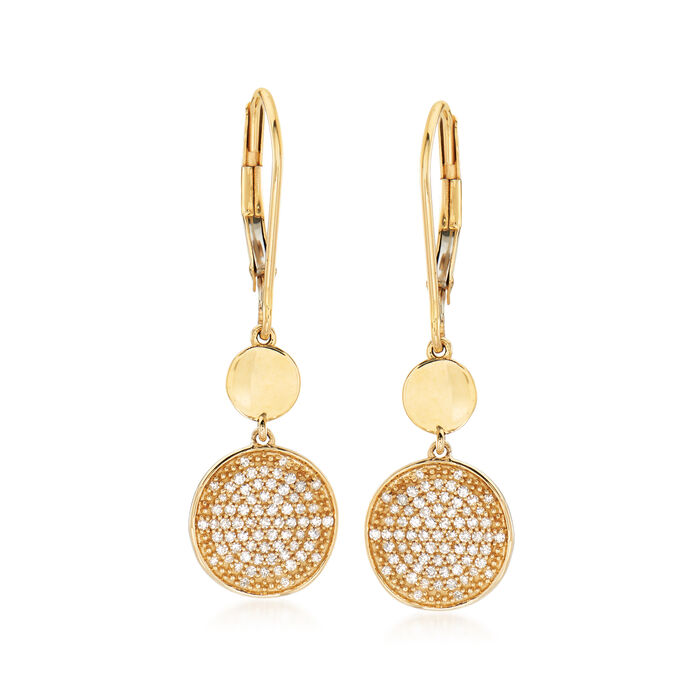 .25 ct. t.w. Pave Diamond Disc Drop Earrings in 14kt Yellow Gold
