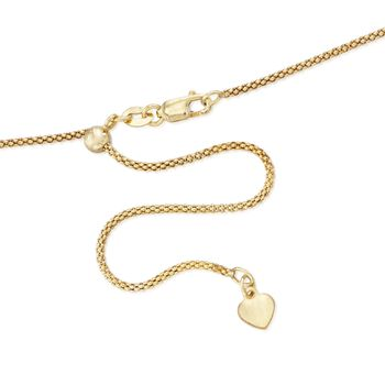 "1.2mm 14kt Yellow Gold Adjustable Popcorn Chain Necklace. 22"", , default"