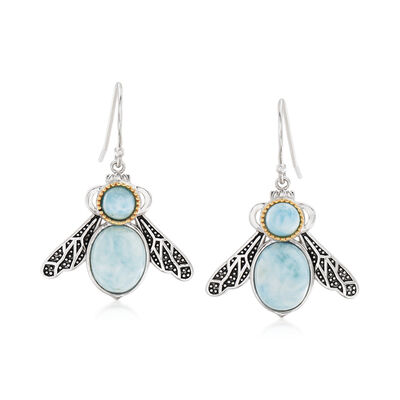 Larimar Insect Drop Earrings in Sterling Silver and 14kt Yellow Gold