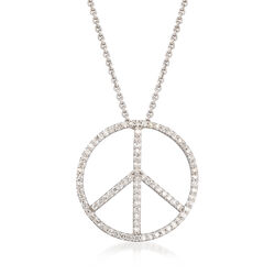 1.00 ct. t.w. Diamond Peace Sign Pendant Necklace in 14kt White Gold, , default