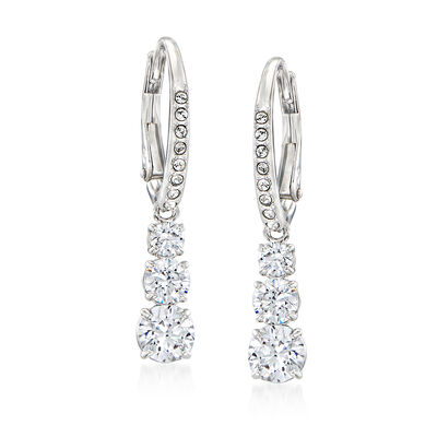 "Swarovski Crystal ""Attract"" Drop Earrings in Silvertone, , default"