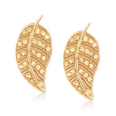 14kt Yellow Gold Leaf Earrings , , default