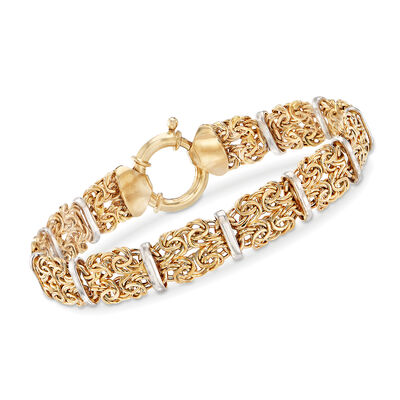 14kt Two-Tone Gold Byzantine Link and Bar Station Bracelet, , default
