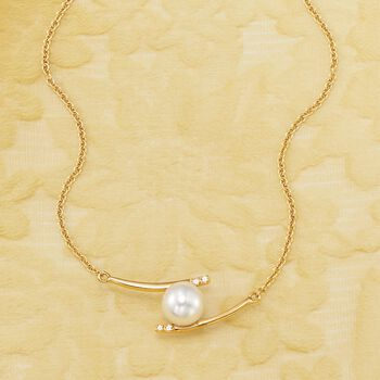 """8-8.5mm Cultured Pearl Curved Bar Necklace With Diamond Accents in 14kt Yellow Gold. 20"""", , default"""