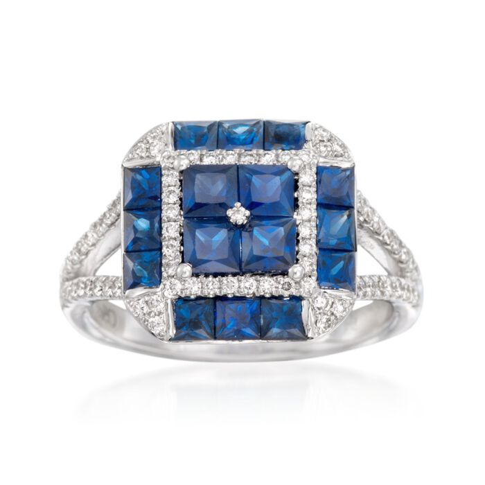 Gregg Ruth 2.20 ct. t.w. Sapphire and .34 ct. t.w. Diamond Ring in 18kt White Gold